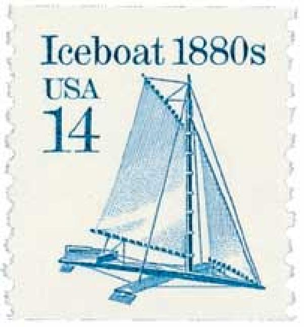 1985 14c Transportation Series: Iceboat, 1880s