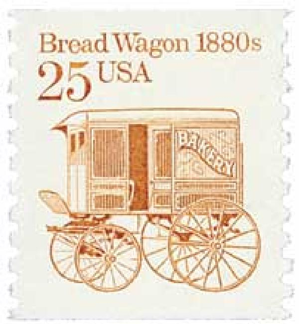 1986 25c Transportation Series: Bread Wagon 1880s