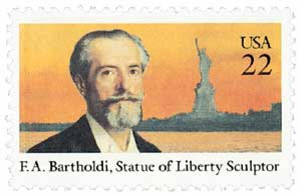 US #2147 had been intended for Bartholdi's 150th birthday, though it was issued a year later.  It was also issued a year before the centennial of the Statue of Liberty.