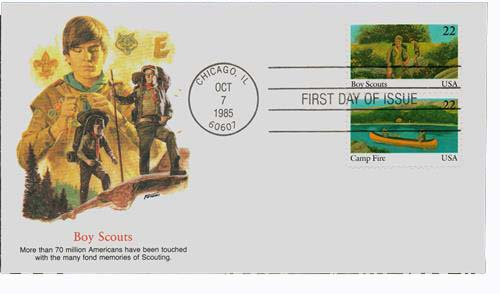 1985 22c Scouts/Campfire Pair First Day Cover