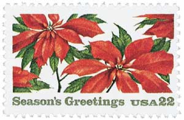 1985 22c Contemporary Christmas: Poinsettia Plants