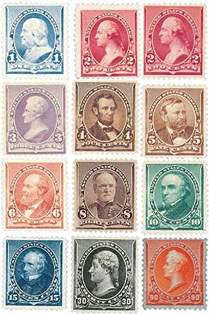 Complete Set, 1890-93 Regular Issues Set of 12 Stamps