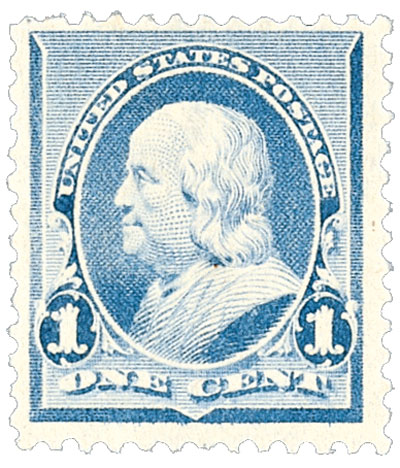 1890 1c Franklin, dull blue