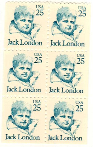 1986-95 25c Jack London, booklet pane of 6