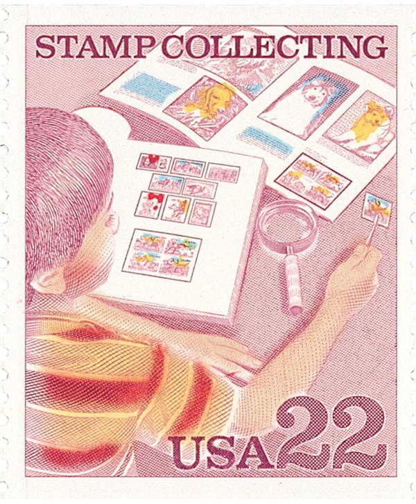 1986 22c Stamp Collecting: Boy Examining Stamp Cover