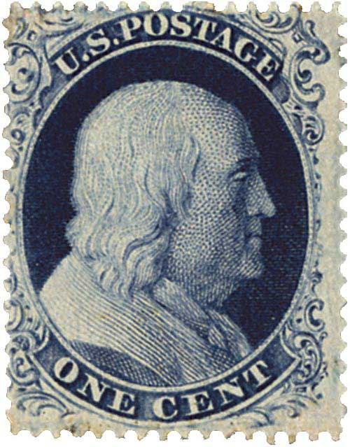 1857-61 1c Franklin, type IIIA