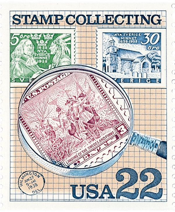 1986 22c Stamp Collecting: Under Magnifying Glass