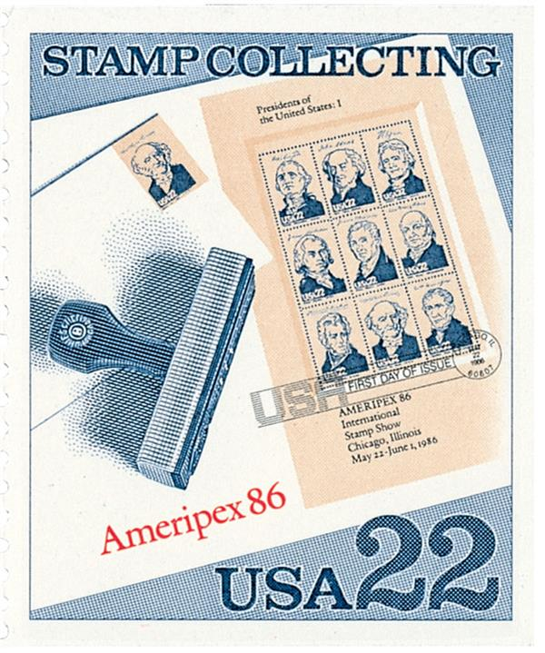 1986 22c Stamp Collecting: Presidents Miniature Sheet