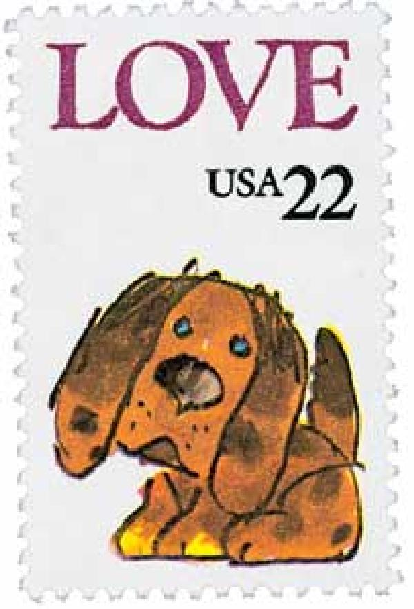 1986 22c Love Series: Puppy