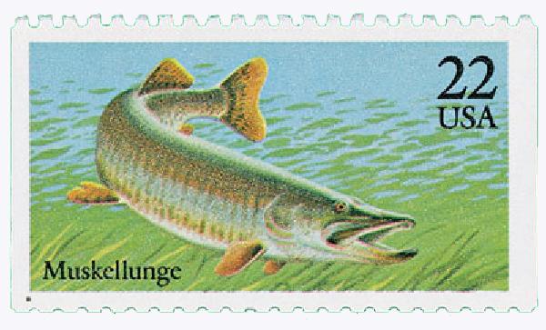 1986 22c Fish: Muskellunge