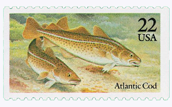 1986 22c Fish: Atlantic Cod