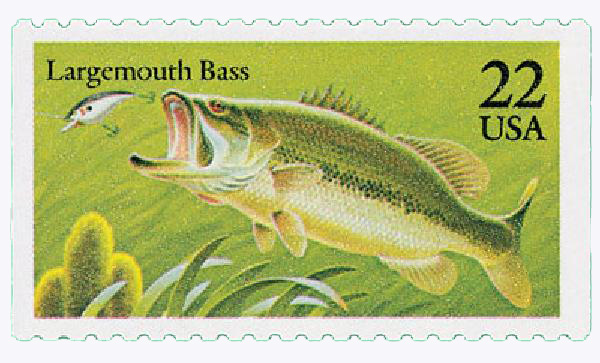1986 22c Fish: Largemouth Bass