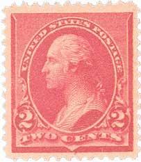1890 2c Washington, caps-left