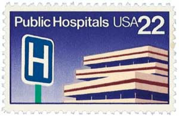 U.S. #2210 was the first U.S. stamp to picture a hospital. It was issued for the 250th anniversary of New York's Bellevue.