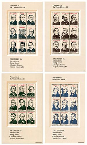 1986 22c AMERIPEX '86 Presidents, souvenir sheet
