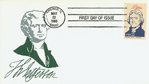 1986 22c Pres. Jefferson,single