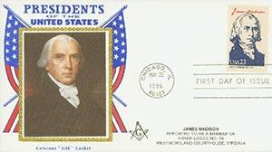 1986 22c Pres. Madison,single