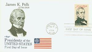 1986 22c Pres. Polk,single