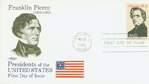 1986 22c Pres. Pierce,single