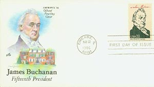 1986 22c Pres. Buchanan,single