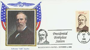 1986 22c Pres. Hayes,single