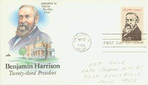 1986 22c Pres. B. Harrison,single