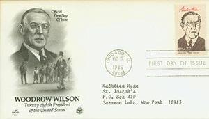 1986 22c Pres. Wilson,single