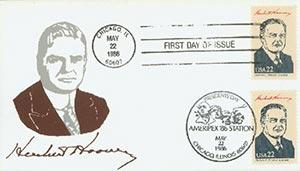 1986 22c Pres. Hoover,single