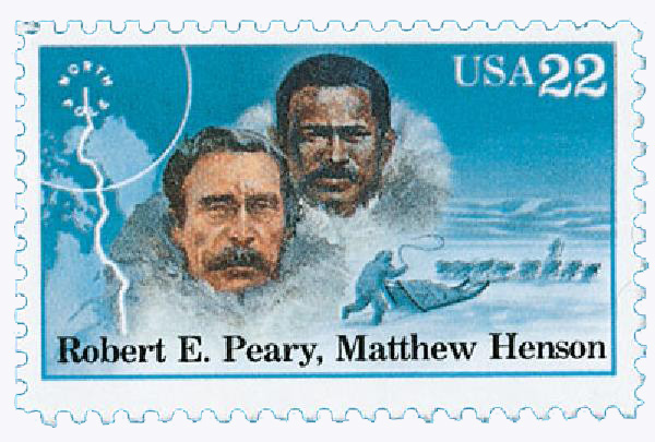 1986 22c Arctic Explorers: Robert E. Peary and Matthew Henson