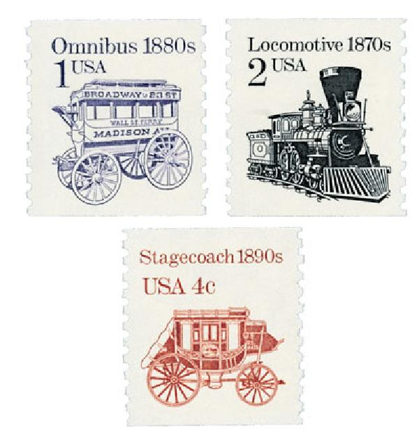 1986-87 Transportation Series, coil, set of 3 stamps