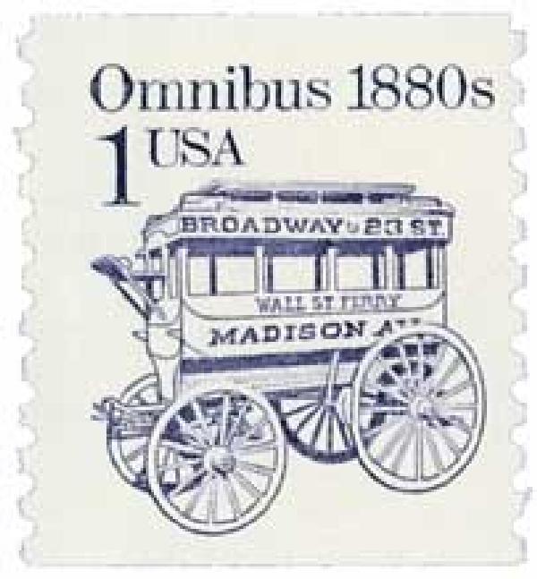 1986 1c Transportation Series: Omnibus, 1880s, re-engraved