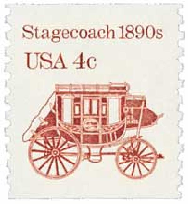 1986 4c Transportation Series: Stagecoach, 1890s, re-engraved