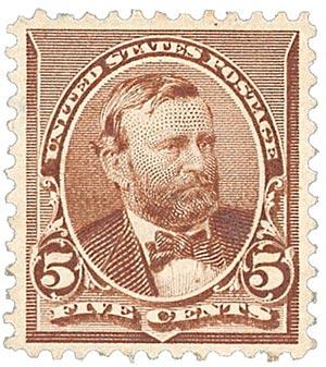 1890 5c U S Grant, chocolate