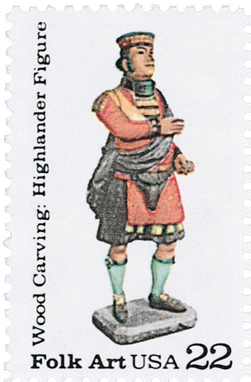 1986 22c Woodcarved Figurines: Highlander figure