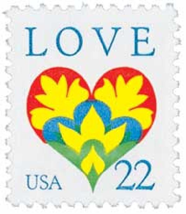 1987 22c Love Series: Hearts and Flowers