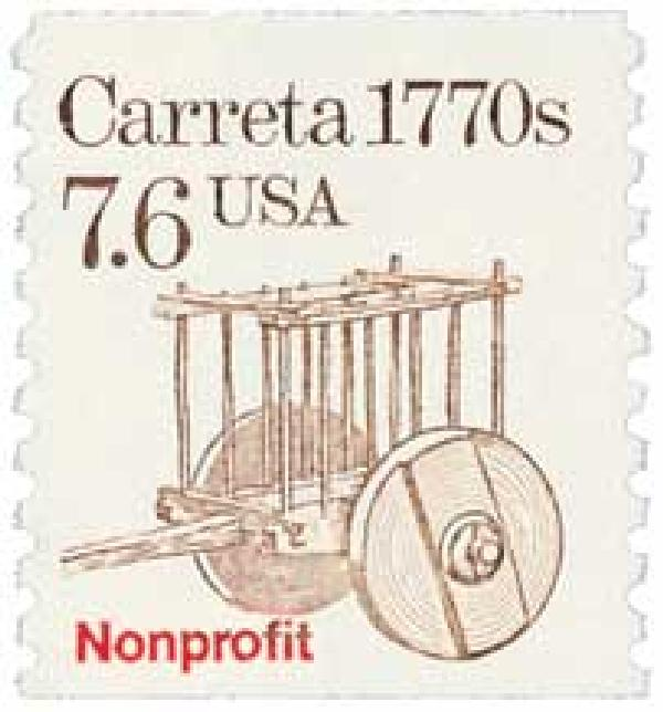 1988 7.6c Transportation Series: Carreta, 1770s