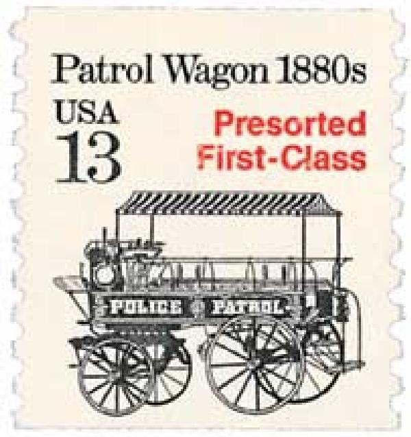 1988 13c Transportation Series: Patrol Wagon, 1880s