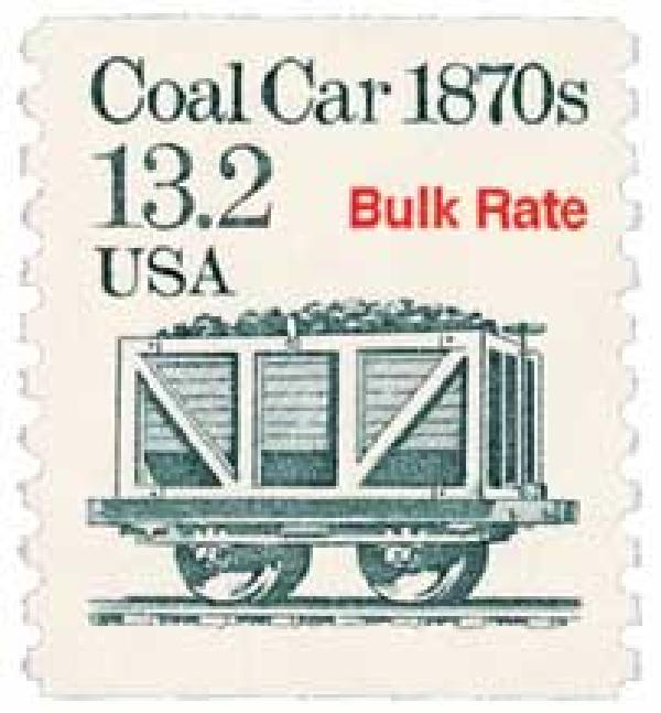 1988 13.2c Transportation Series: Coal Car, 1870s