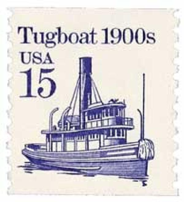 1988 15c Transportation Series: Tugboat, 1900s
