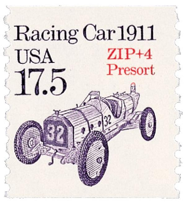 1987 17.5c Transportation Series: Racecar, 1911 (precancel)