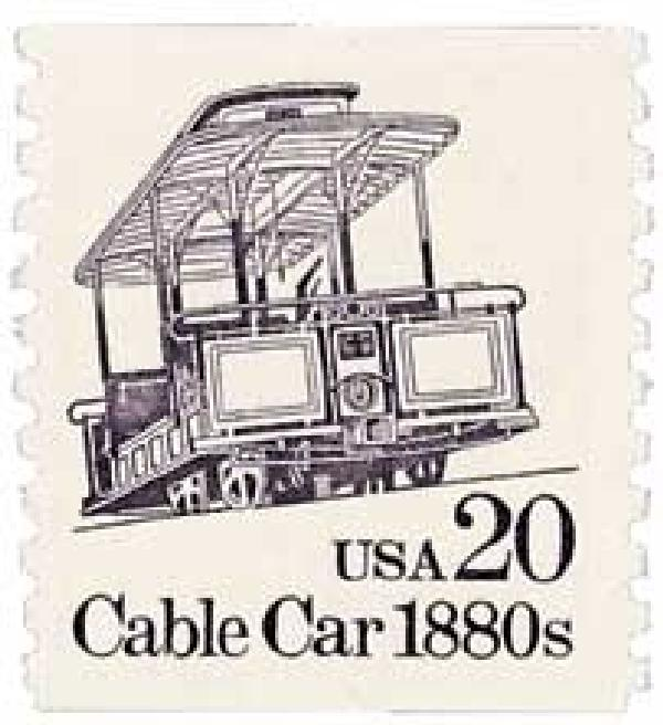 1988 20c Transportation Series: Cable Car, 1880s