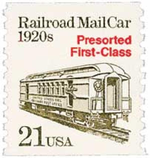1988 21c Transportation Series: Railroad MailCar, 1920s