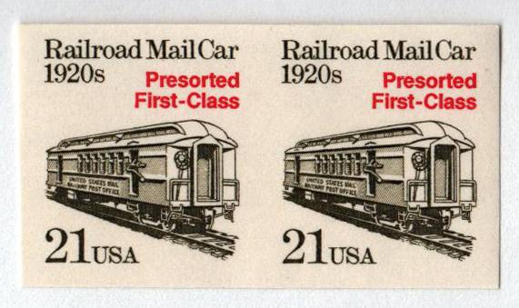 1988 21c Mail Car, imperf pair