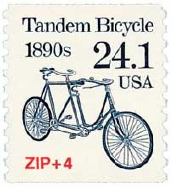 1988 24.1c Transportation Series: Tandem Bicycle, 1890s