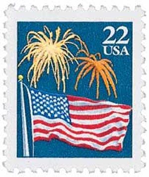 1987 22c Flag Over Fireworks