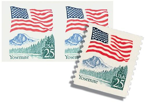 1988 25c Flag over Yosemite, imperf with free normal