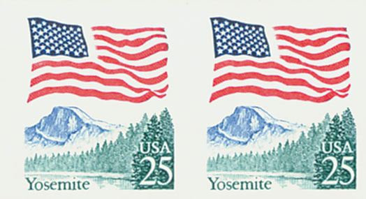 1989 25c Flag Over Yosemite Coil