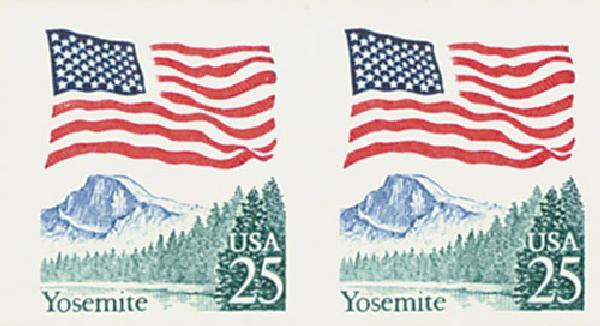 1988 25c Flag over Yosemite, imperf pair