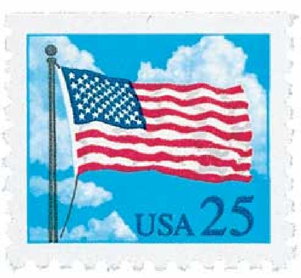 1987-88 25c Flag and Clouds, booklet single