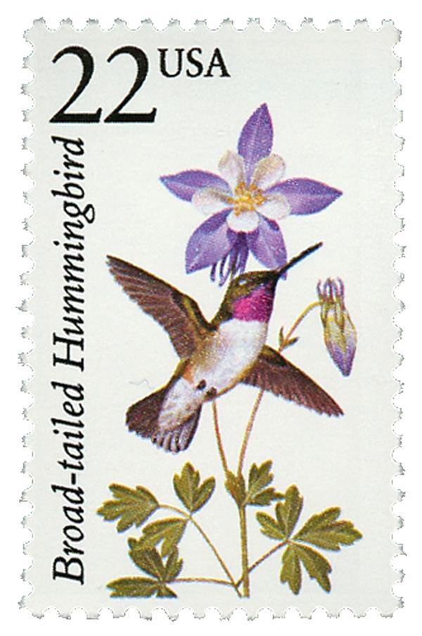 1987 22c North American Wildlife: Broad-tailed Hummingbird